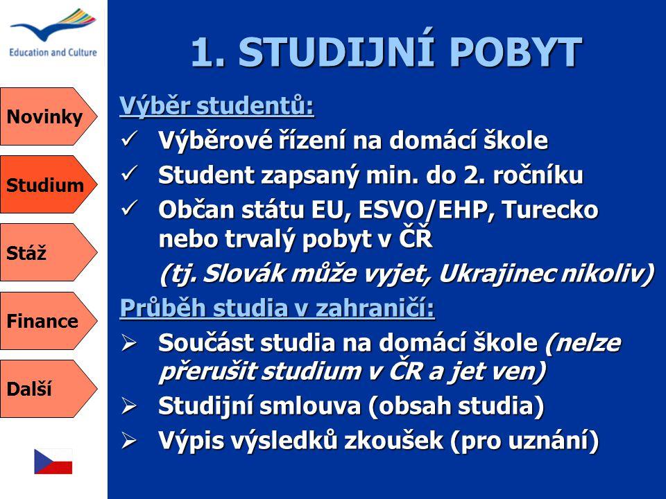 1. STUDIJNÍ POBYT Výběr studentů: Výběrové řízení na domácí škole