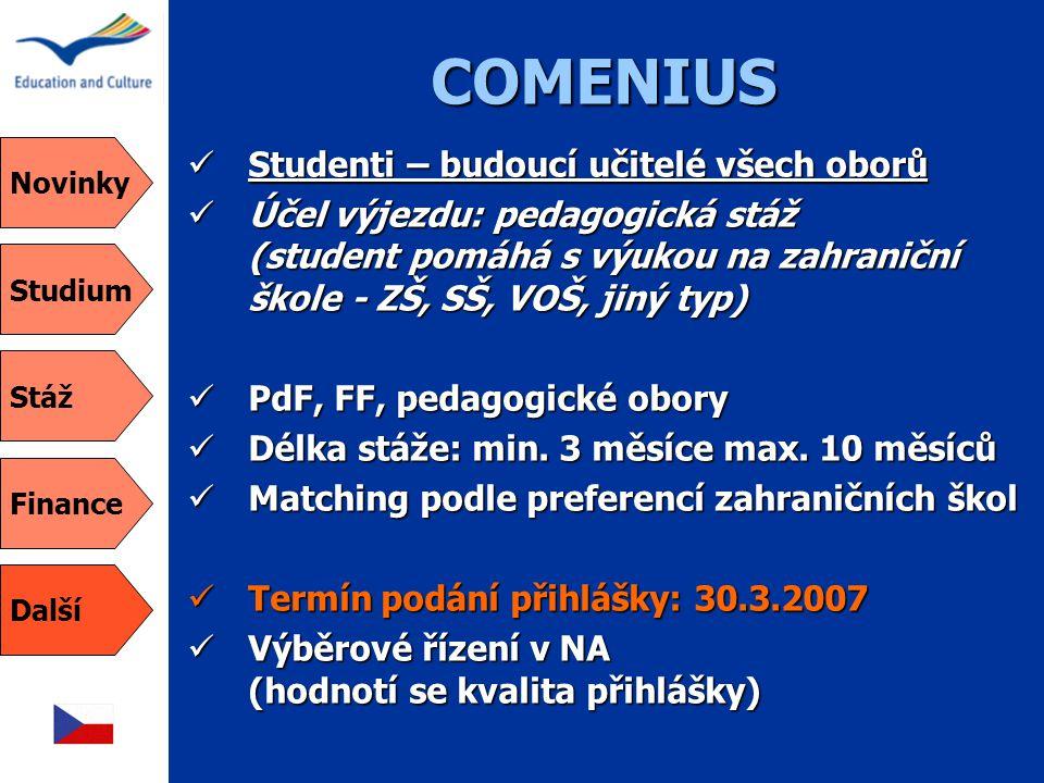 COMENIUS Studenti – budoucí učitelé všech oborů