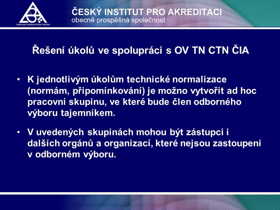 Řešení úkolů ve spolupráci s OV TN CTN ČIA