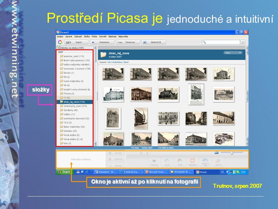 Prostředí Picasa je jednoduché a intuitivní