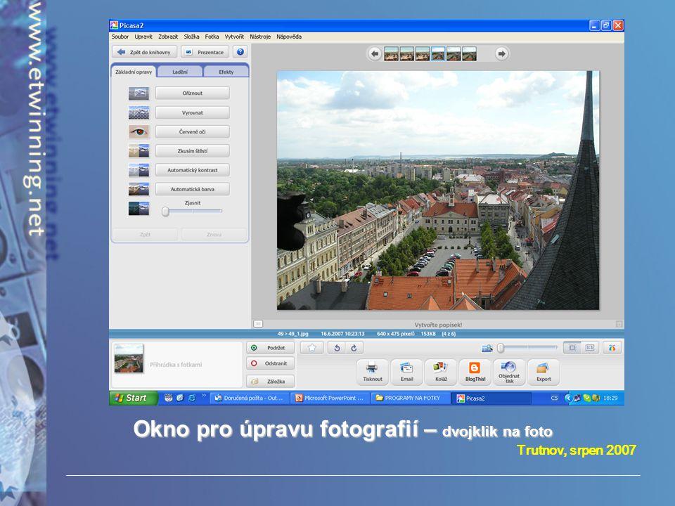Okno pro úpravu fotografií – dvojklik na foto