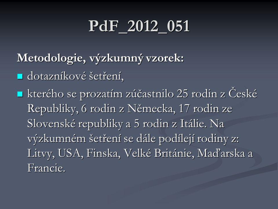 PdF_2012_051 Metodologie, výzkumný vzorek: dotazníkové šetření,