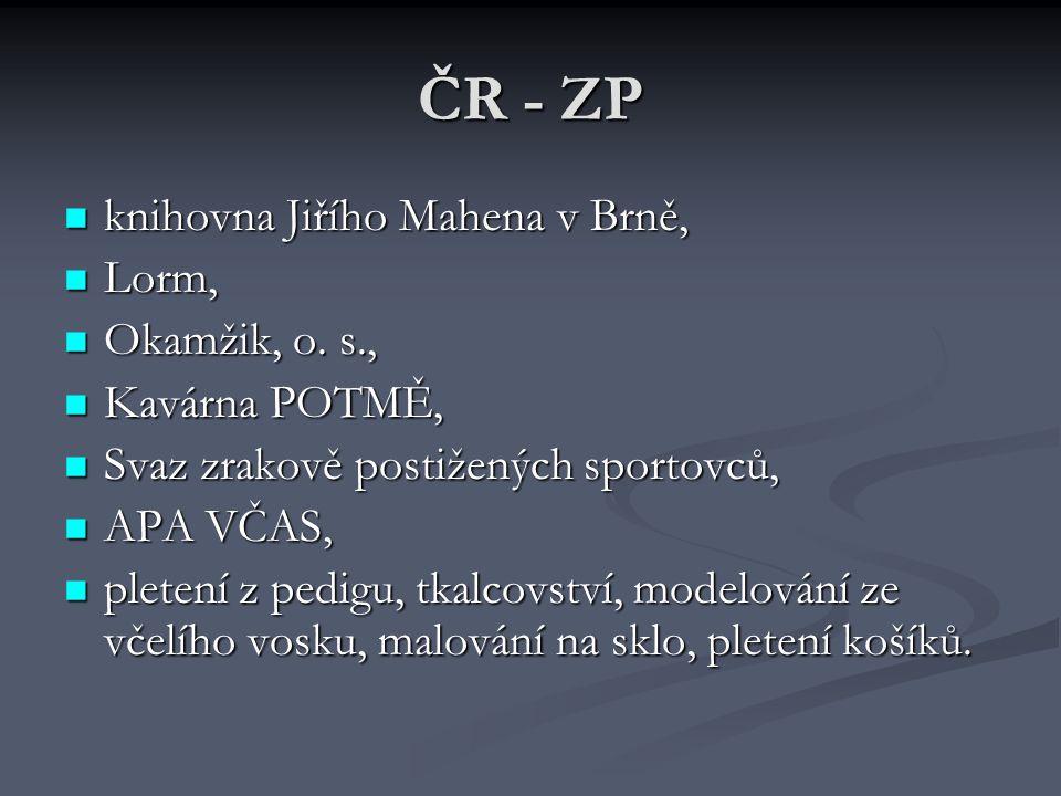 ČR - ZP knihovna Jiřího Mahena v Brně, Lorm, Okamžik, o. s.,