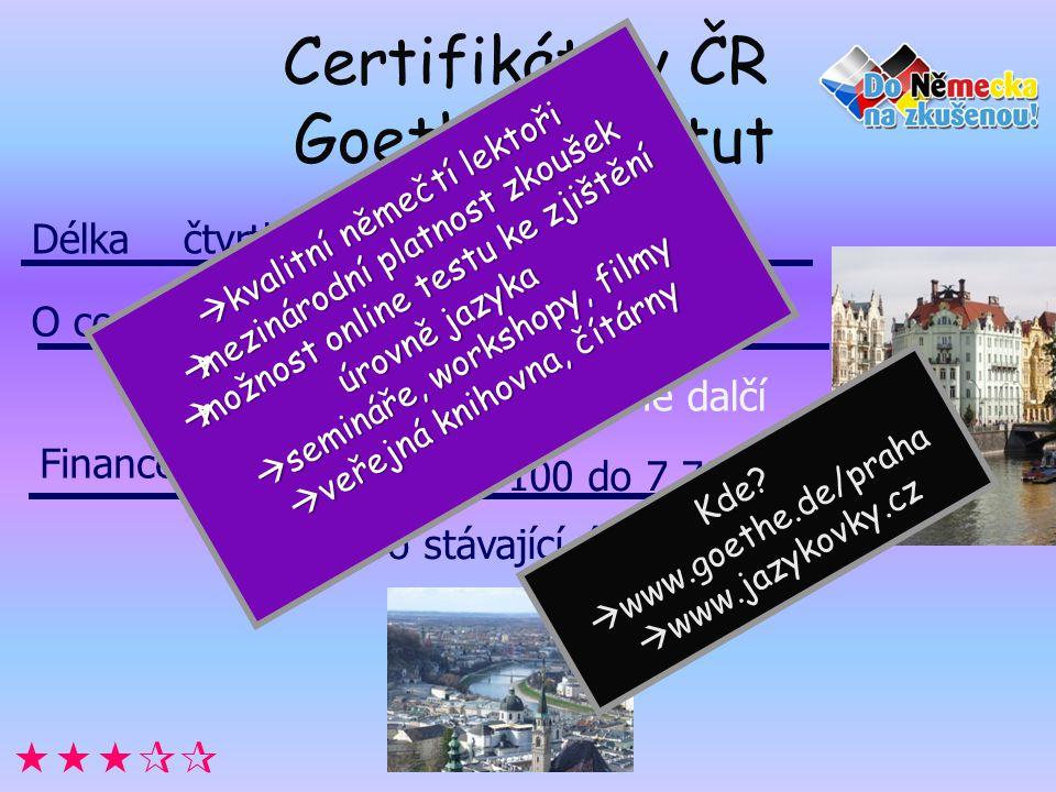 Certifikáty v ČR Goethe Institut