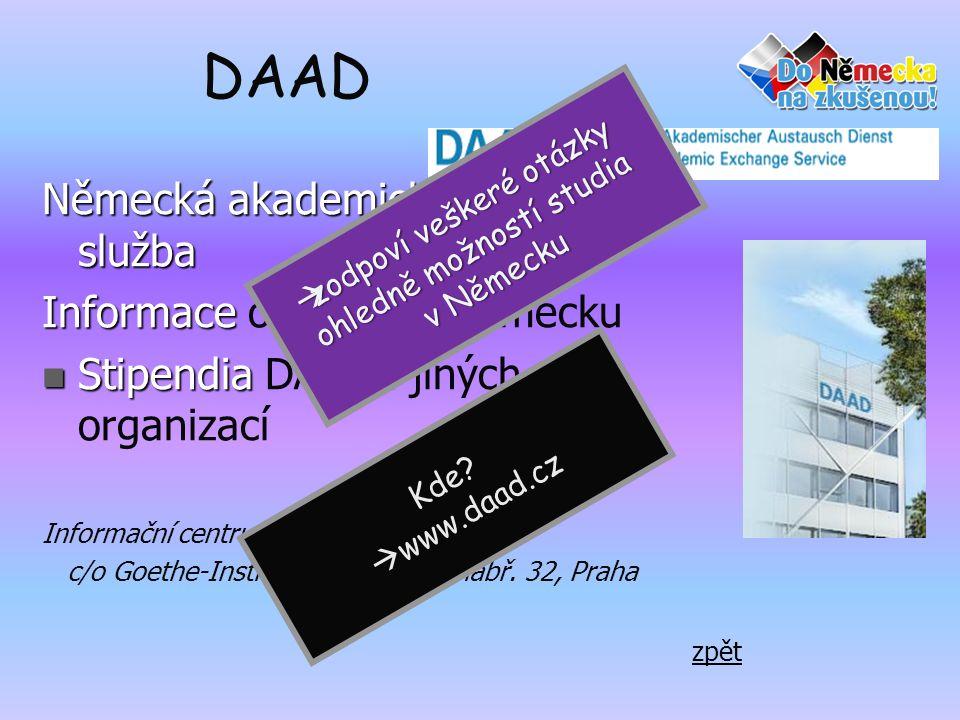 DAAD Německá akademická výměnná služba Informace o studiu v Německu