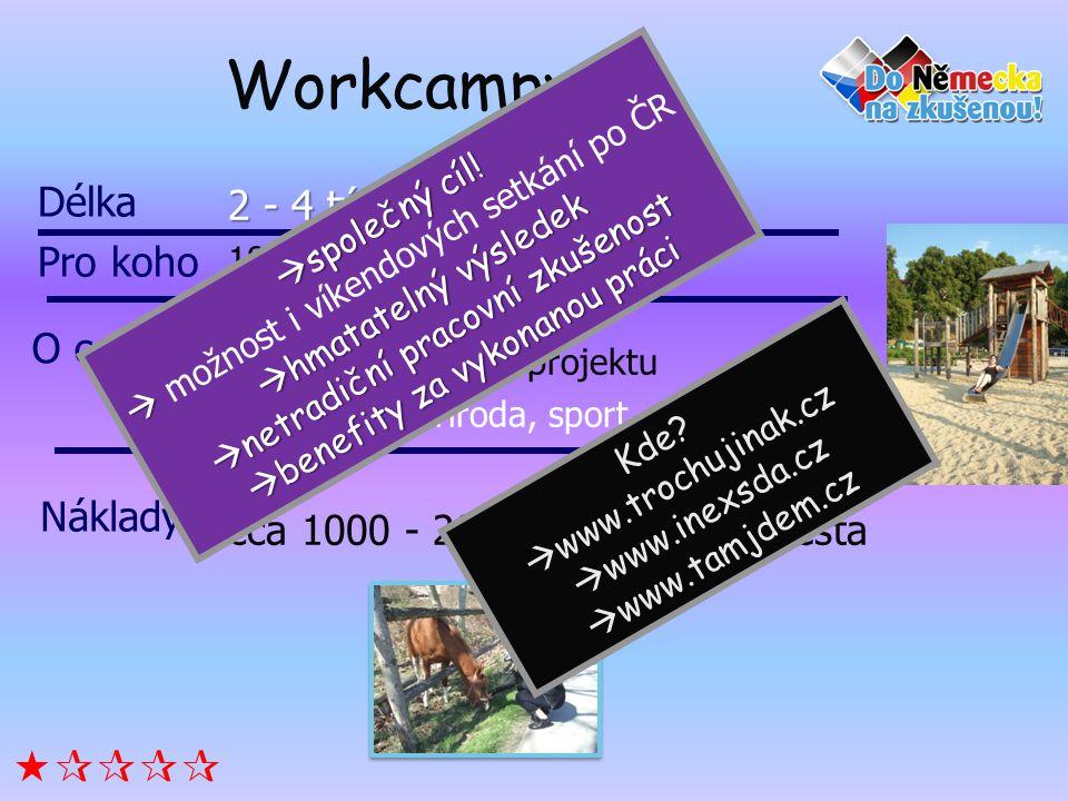 Workcampy  Délka 2 - 4 týdny Pro koho O co jde
