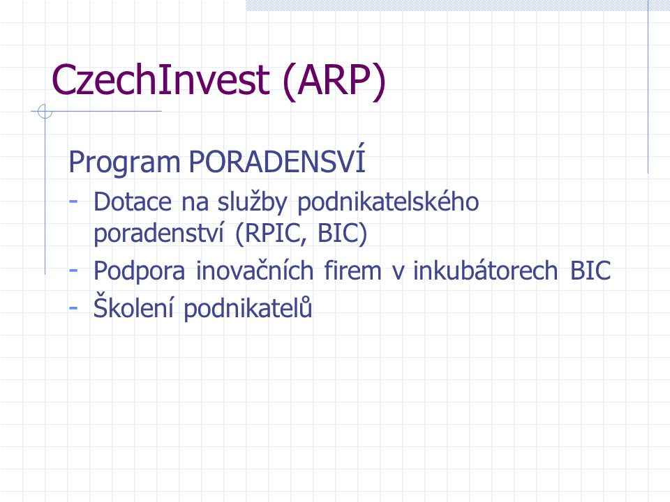 CzechInvest (ARP) Program PORADENSVÍ