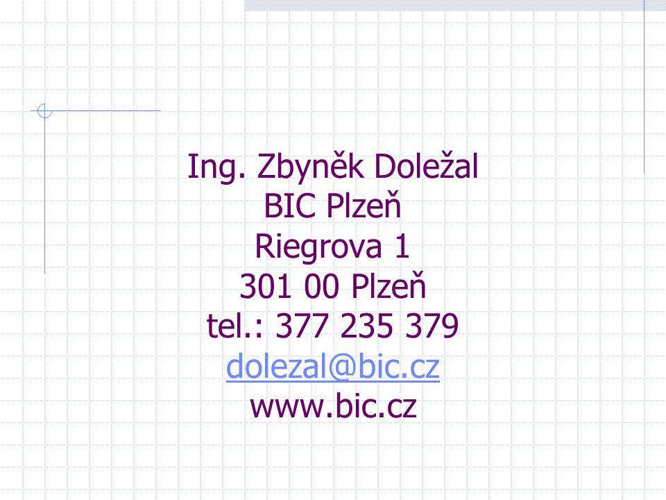 Ing. Zbyněk Doležal BIC Plzeň Riegrova 1 301 00 Plzeň tel