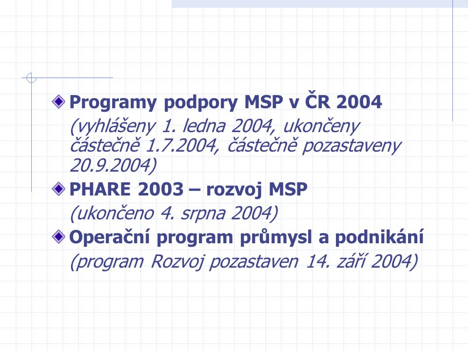Programy podpory MSP v ČR 2004