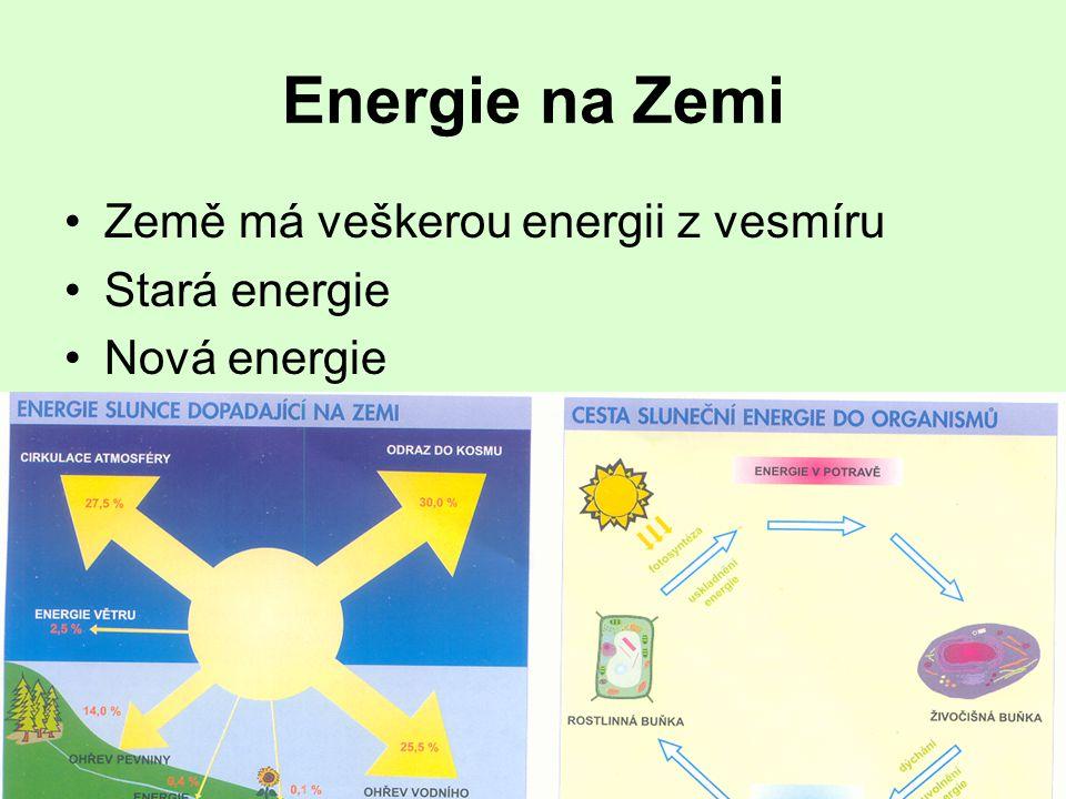 Energie na Zemi Země má veškerou energii z vesmíru Stará energie