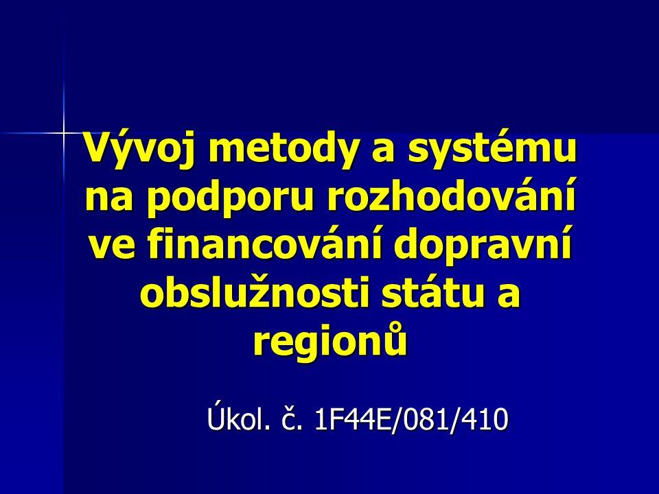 Vývoj metody a systému na podporu rozhodování ve financování dopravní obslužnosti státu a regionů