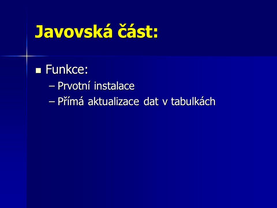Javovská část: Funkce: Prvotní instalace