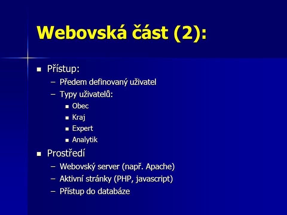 Webovská část (2): Přístup: Prostředí Předem definovaný uživatel