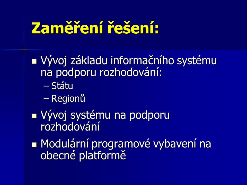 Zaměření řešení: Vývoj základu informačního systému na podporu rozhodování: Státu. Regionů. Vývoj systému na podporu rozhodování.