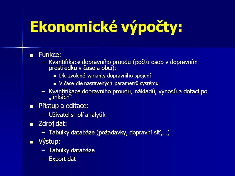 Ekonomické výpočty: Funkce: Přístup a editace: Zdroj dat: Výstup: