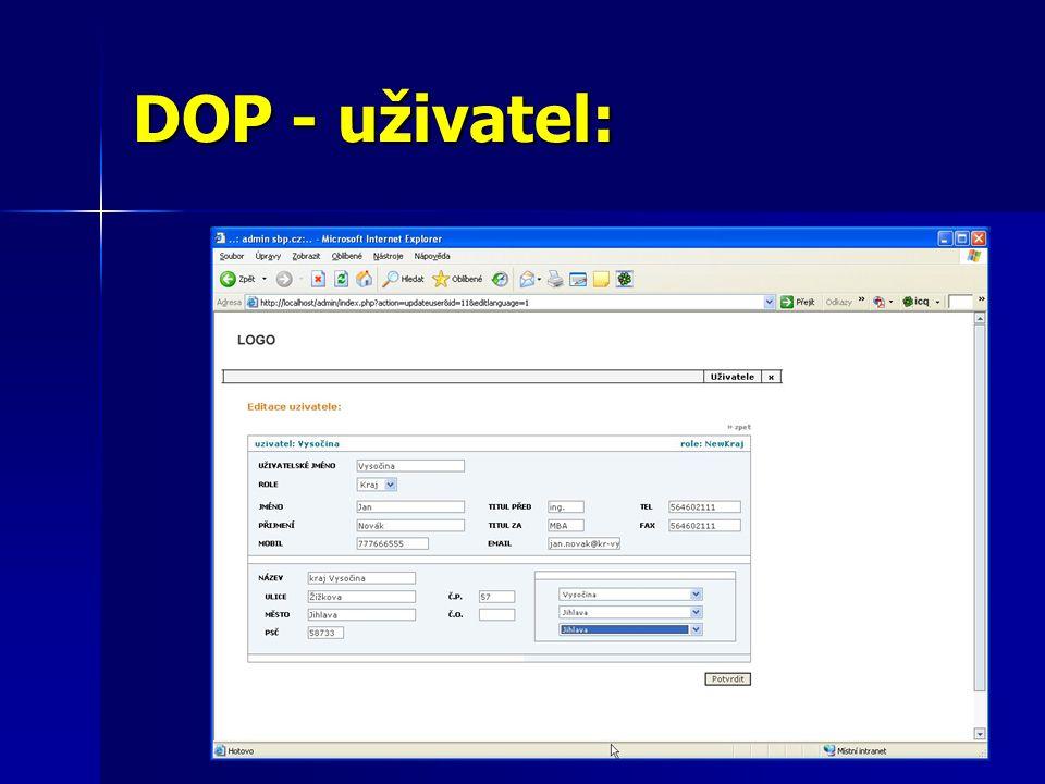 DOP - uživatel: