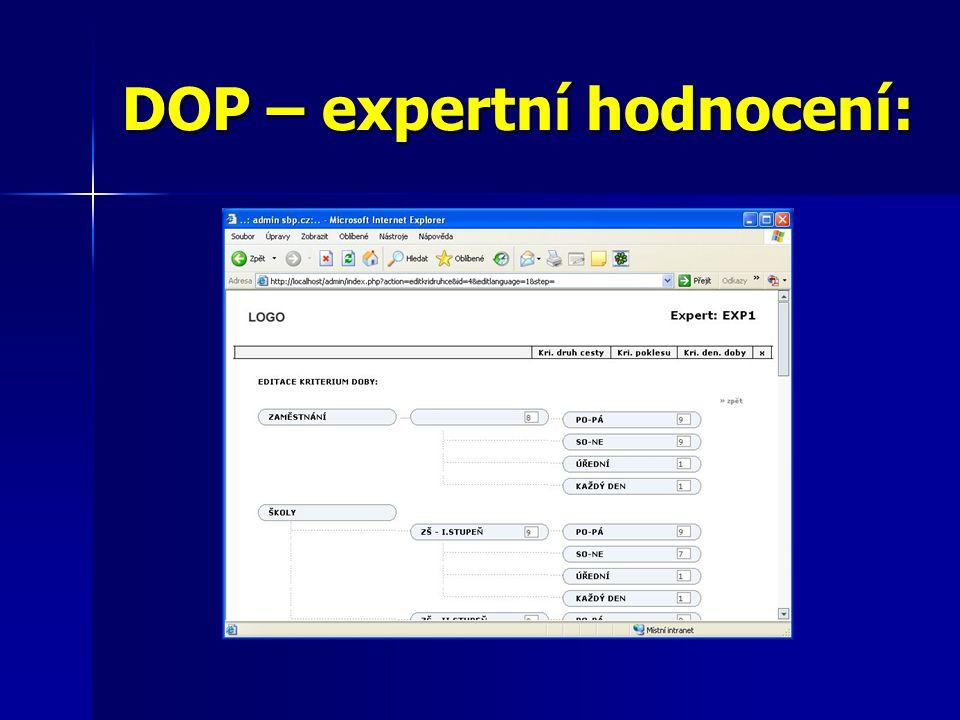 DOP – expertní hodnocení: