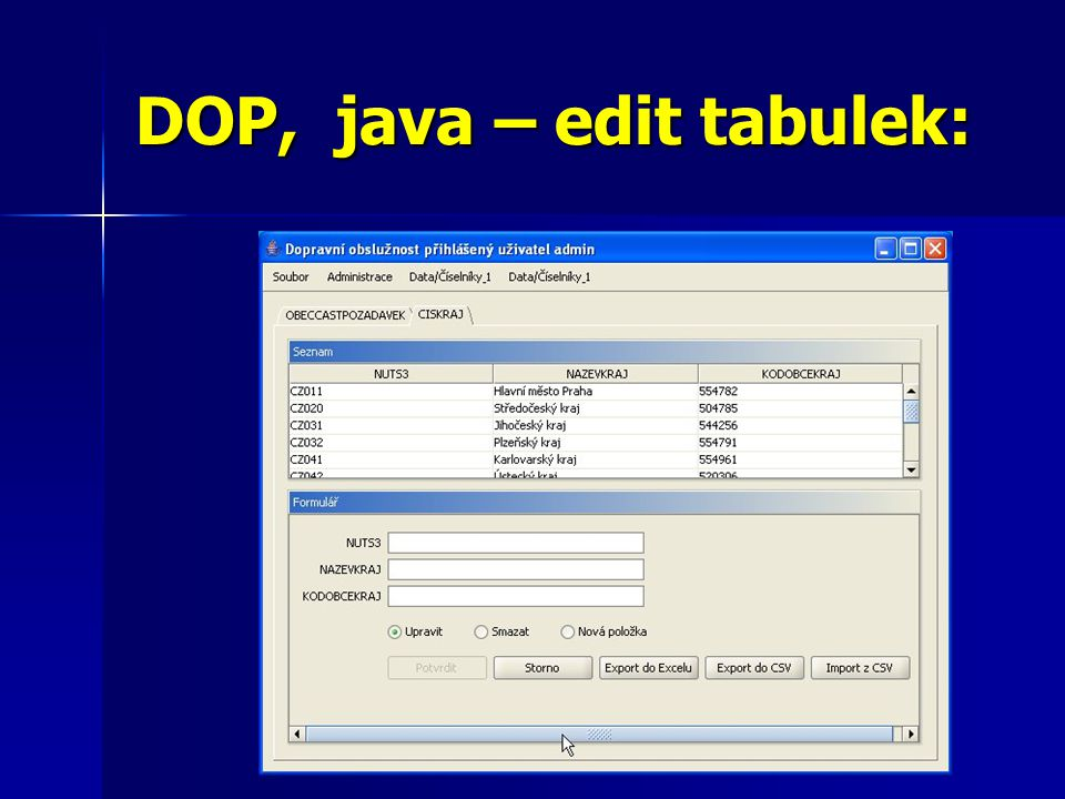 DOP, java – edit tabulek: