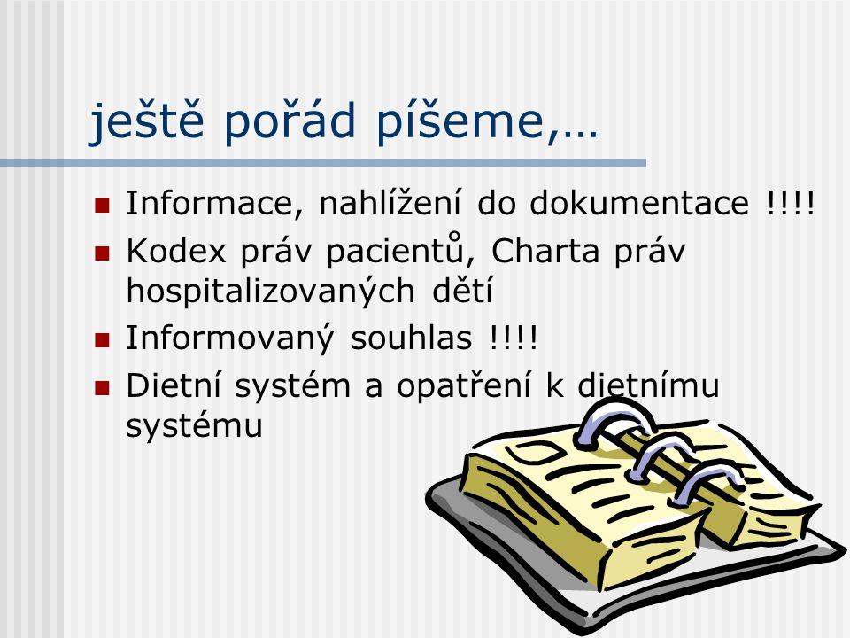 ještě pořád píšeme,… Informace, nahlížení do dokumentace !!!!