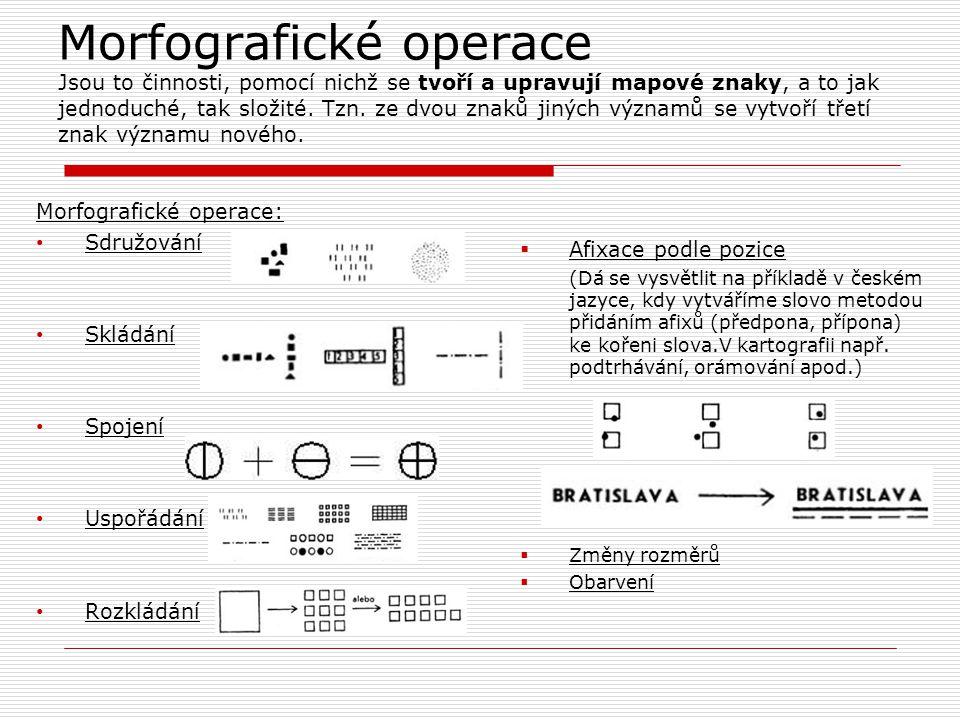 Morfografické operace Jsou to činnosti, pomocí nichž se tvoří a upravují mapové znaky, a to jak jednoduché, tak složité. Tzn. ze dvou znaků jiných významů se vytvoří třetí znak významu nového.