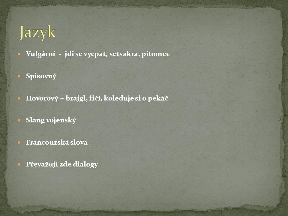 Jazyk Vulgární - jdi se vycpat, setsakra, pitomec Spisovný