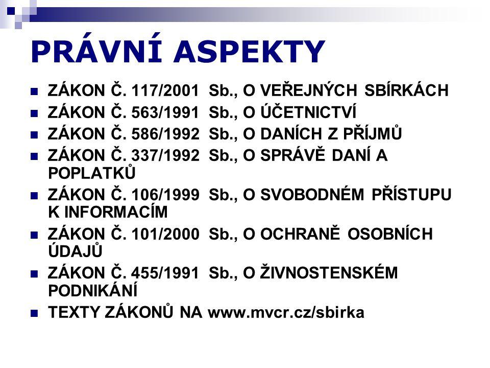 PRÁVNÍ ASPEKTY ZÁKON Č. 117/2001 Sb., O VEŘEJNÝCH SBÍRKÁCH