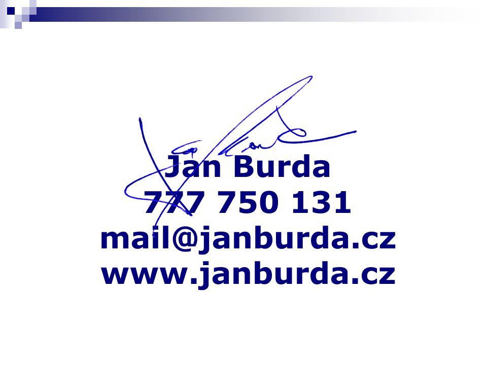 Jan Burda 777 750 131 mail@janburda.cz www.janburda.cz