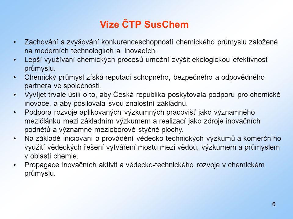 Vize ČTP SusChem Zachování a zvyšování konkurenceschopnosti chemického průmyslu založené na moderních technologiích a inovacích.