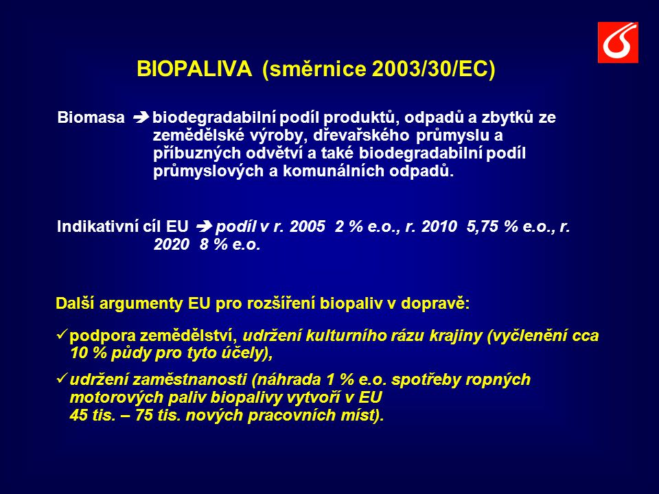 BIOPALIVA (směrnice 2003/30/EC)
