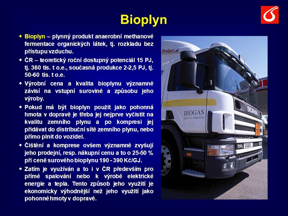 Bioplyn Bioplyn – plynný produkt anaerobní methanové fermentace organických látek, tj. rozkladu bez přístupu vzduchu.