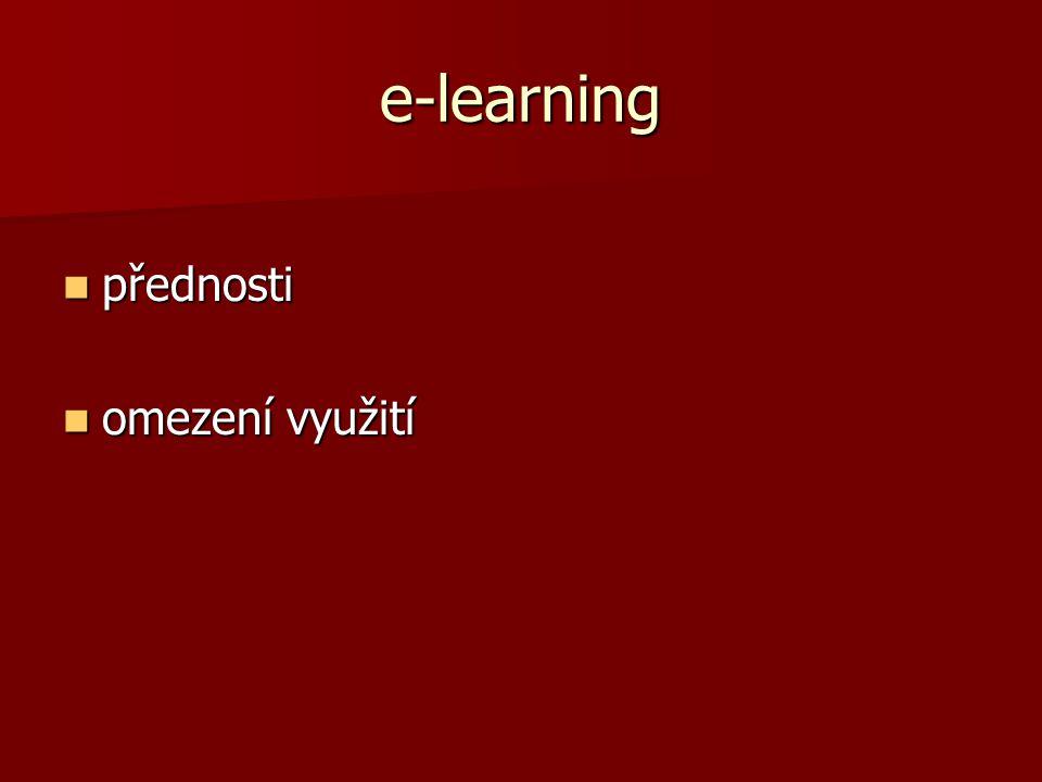 e-learning přednosti omezení využití