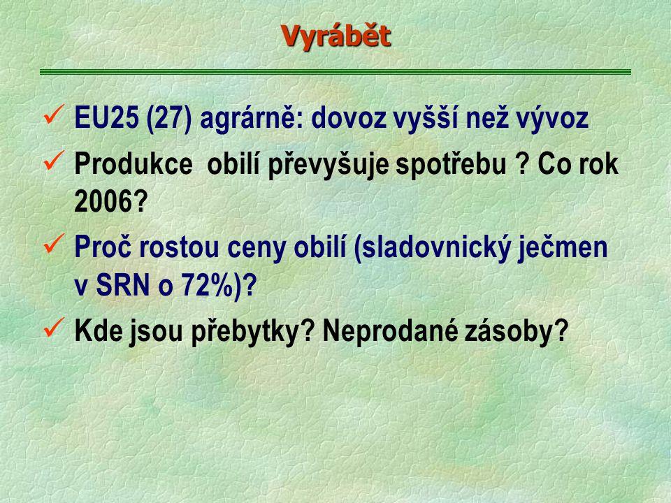 EU25 (27) agrárně: dovoz vyšší než vývoz