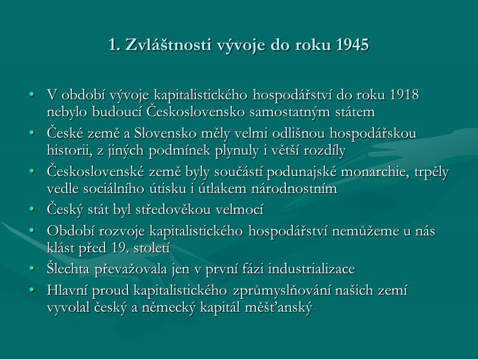 1. Zvláštnosti vývoje do roku 1945