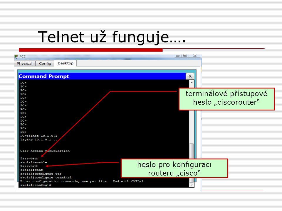 """Telnet už funguje…. terminálové přístupové heslo """"ciscorouter"""