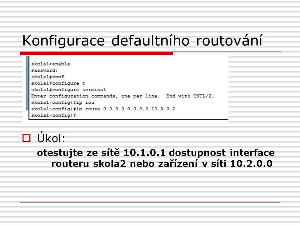 Konfigurace defaultního routování