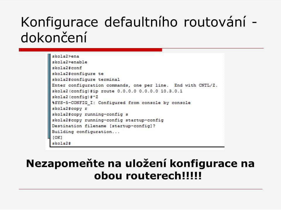 Konfigurace defaultního routování - dokončení