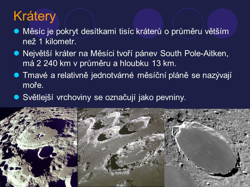 Krátery Měsíc je pokryt desítkami tisíc kráterů o průměru větším než 1 kilometr.