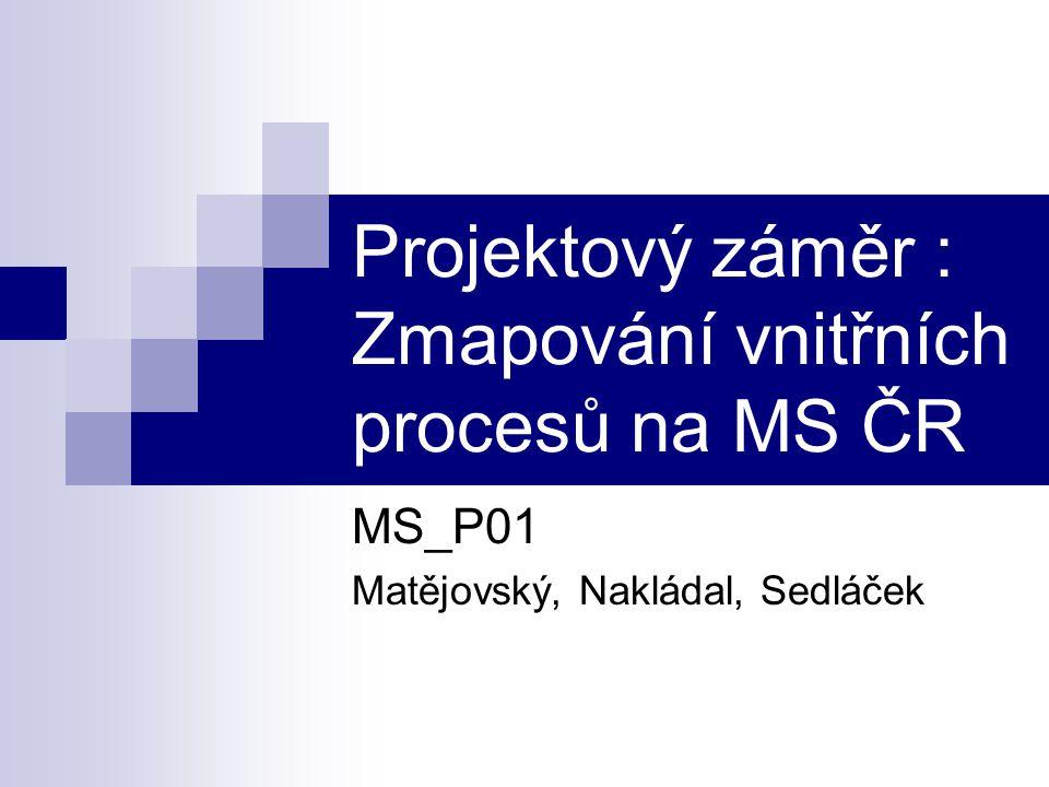 Projektový záměr : Zmapování vnitřních procesů na MS ČR