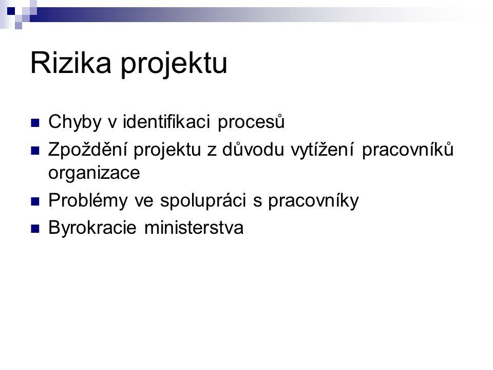 Rizika projektu Chyby v identifikaci procesů