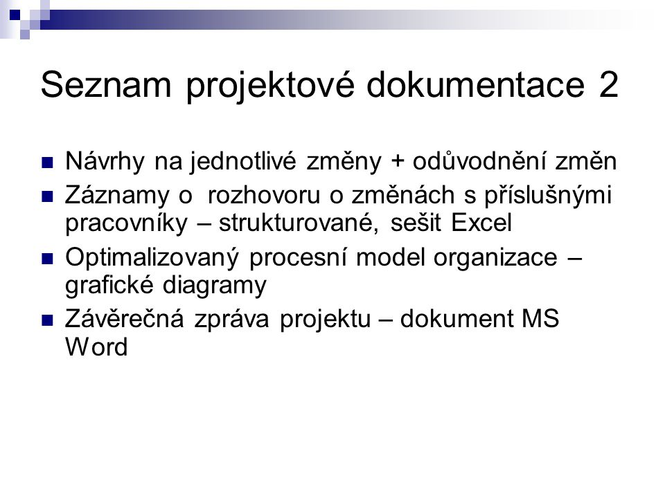 Seznam projektové dokumentace 2