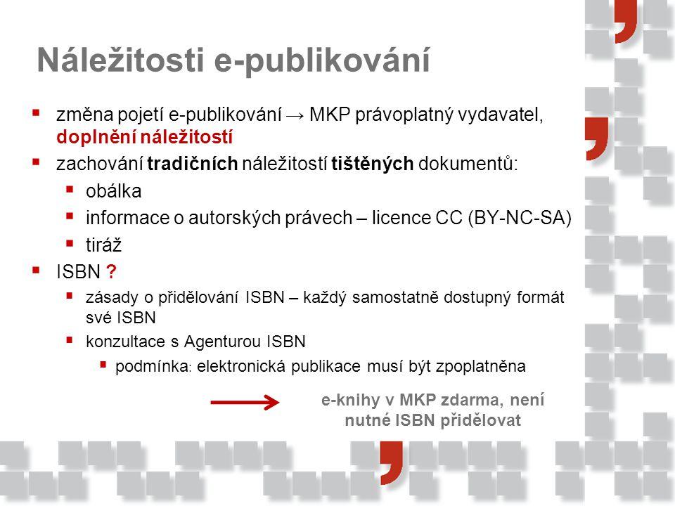 Náležitosti e-publikování