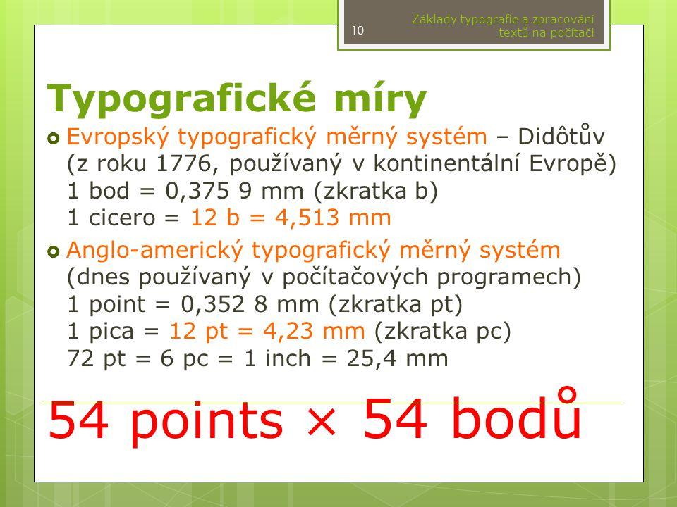 54 points × 54 bodů Typografické míry