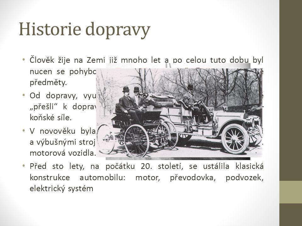 Historie dopravy Člověk žije na Zemi již mnoho let a po celou tuto dobu byl nucen se pohybovat z místa na místo a přepravovat různé předměty.