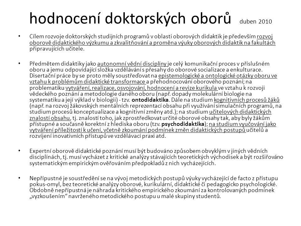 hodnocení doktorských oborů duben 2010