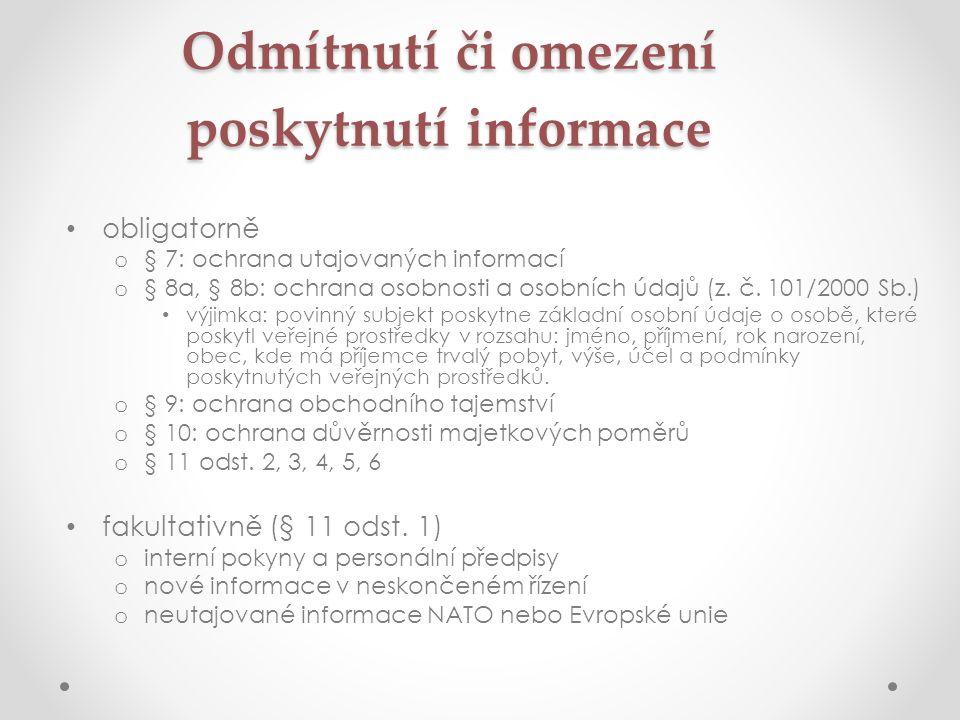 Odmítnutí či omezení poskytnutí informace