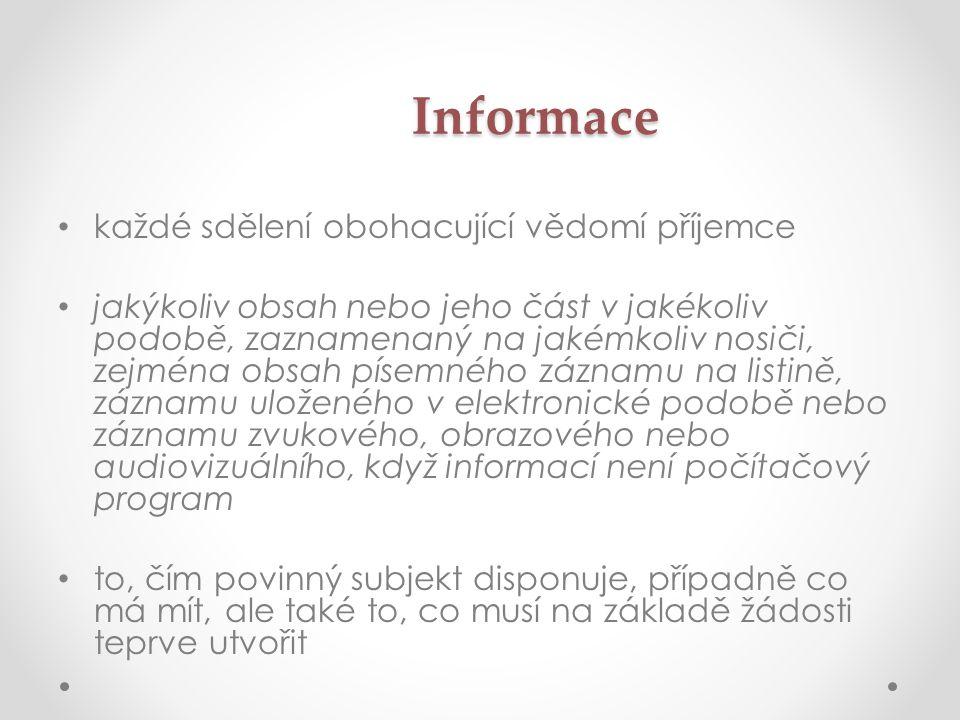 Informace každé sdělení obohacující vědomí příjemce