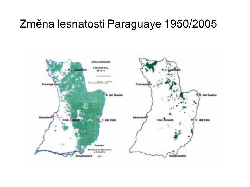 Změna lesnatosti Paraguaye 1950/2005