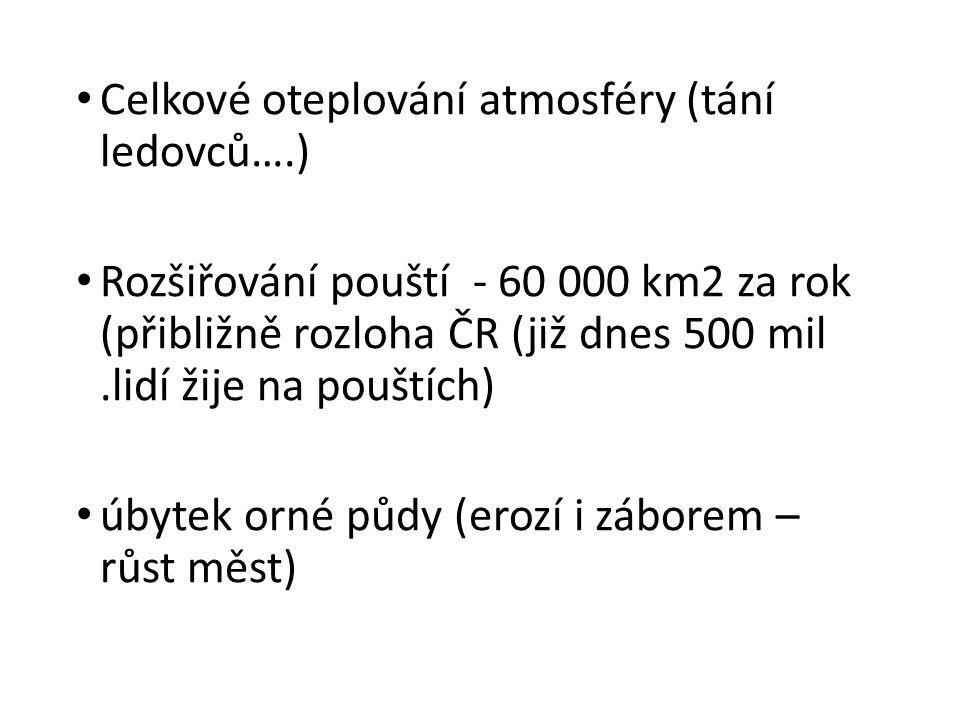 Celkové oteplování atmosféry (tání ledovců….)
