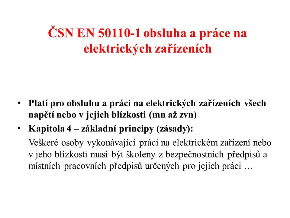 ČSN EN 50110-1 obsluha a práce na elektrických zařízeních