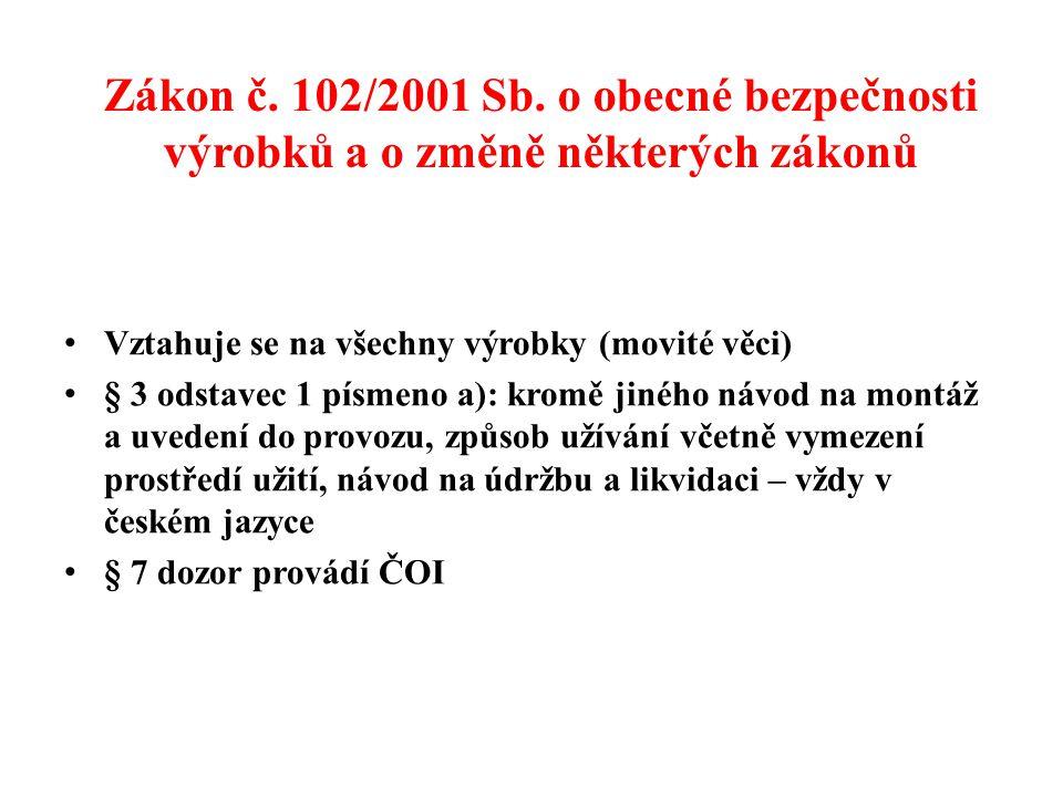Zákon č. 102/2001 Sb. o obecné bezpečnosti výrobků a o změně některých zákonů